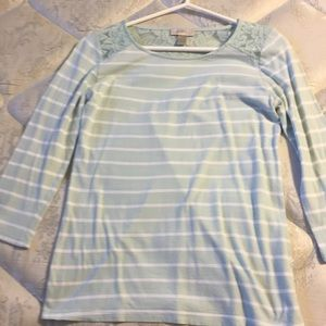 Mint shirt with white stripes